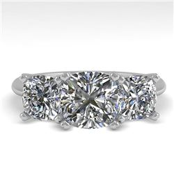 2.0 CTW Cushion Cut VS/SI Diamond 3 Stone Designer Ring 14K White Gold - REF-395R7K - 38503