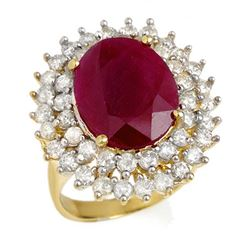9.83 CTW Ruby & Diamond Ring 14K Yellow Gold - REF-261N8A - 12984