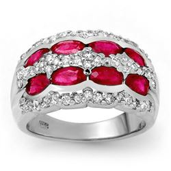 2.50 CTW Ruby & Diamond Ring 14K White Gold - REF-105X5R - 14146