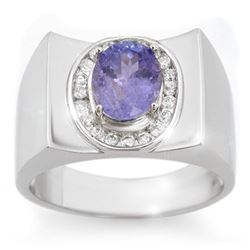 2.83 CTW Tanzanite & Diamond Men's Ring 10K White Gold - REF-83W8H - 14475