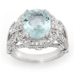 6.50 CTW Aquamarine & Diamond Ring 14K White Gold - REF-171M3F - 14504