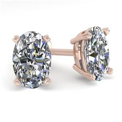 1.0 CTW Oval Cut VS/SI Diamond Stud Designer Earrings 18K Rose Gold - REF-180H2M - 32270