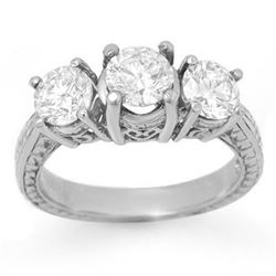 1.50 CTW Certified VS/SI Diamond 3 Stone Ring 18K White Gold - REF-255K3W - 14309