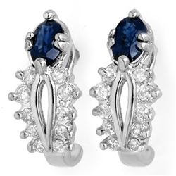 0.90 CTW Blue Sapphire & Diamond Earrings 14K White Gold - REF-42K2W - 10136