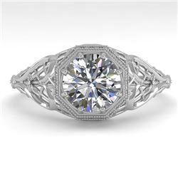 1.01 CTW VS/SI Diamond Solitaire Engagement Ring 18K White Gold - REF-301W9H - 36033
