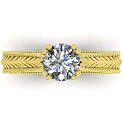 1.06 CTW Solitaire Certified VS/SI Diamond Ring 14K Yellow Gold - REF-286M6F - 38537