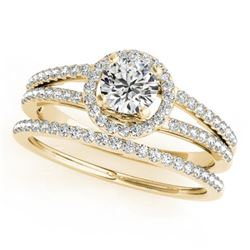 0.85 CTW Certified VS/SI Diamond 2Pc Wedding Set Solitaire Halo 14K Yellow Gold - REF-127F3N - 31075