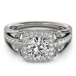 1.30 CTW Certified VS/SI Diamond Solitaire Halo Ring 18K White Gold - REF-388A7V - 26551