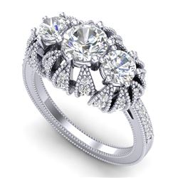 2.26 CTW VS/SI Diamond Art Deco Micro Pave 3 Stone Ring Band 18K White Gold - REF-345F5N - 37001