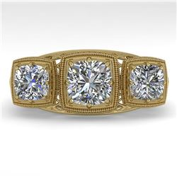2 CTW Past Present Future VS/SI Cushion Cut Diamond Ring Deco 18K Yellow Gold - REF-481W6H - 36073