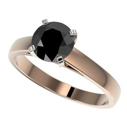 1.50 CTW Fancy Black VS Diamond Solitaire Engagement Ring 10K Rose Gold - REF-36N3A - 33023