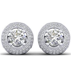 1.75 CTW Certified VS/SI Diamond Art Deco Micro Halo Stud Earrings 14K White Gold - REF-207A6V - 304
