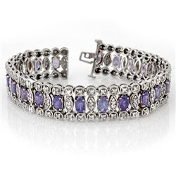 17.50 CTW Tanzanite & Diamond Bracelet 18K White Gold - REF-578N2A - 14626
