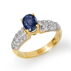 1.50 CTW Blue Sapphire & Diamond Ring 10K Yellow Gold - REF-52R7K - 13213