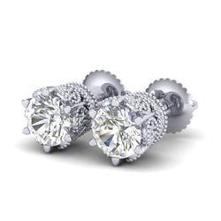 2.04 CTW VS/SI Diamond Solitaire Art Deco Stud Earrings 18K White Gold - REF-361R8K - 37241