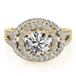 1.75 CTW Certified VS/SI Diamond Solitaire Halo Ring 18K Yellow Gold - REF-438A4V - 26927