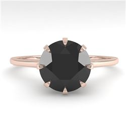 2.0 CTW Black Diamond Solitaire Engagement Ring Vintage Size 7 18K Rose Gold - REF-78F2N - 35771
