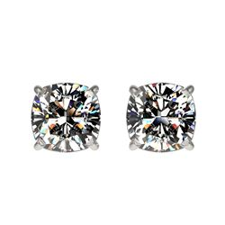 1 CTW Certified VS/SI Quality Cushion Cut Diamond Stud Earrings 10K White Gold - REF-147W2H - 33066