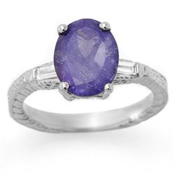 3.70 CTW Tanzanite & Diamond Ring 14K White Gold - REF-116M7F - 11680