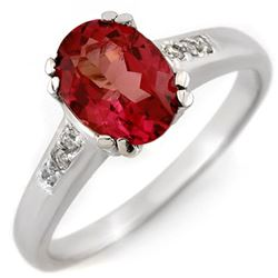 1.35 CTW Pink Tourmaline & Diamond Ring 10K White Gold - REF-36K4W - 11459