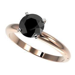 1.50 CTW Fancy Black VS Diamond Solitaire Engagement Ring 10K Rose Gold - REF-47V3Y - 32926
