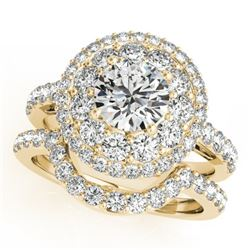 2.55 CTW Certified VS/SI Diamond 2Pc Wedding Set Solitaire Halo 14K Yellow Gold - REF-455F6N - 30938