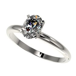 1 CTW Certified VS/SI Quality Oval Diamond Solitaire Ring 10K White Gold - REF-297N2A - 32894