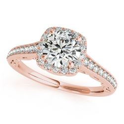 0.90 CTW Certified VS/SI Diamond Solitaire Halo Ring 18K Rose Gold - REF-151K8W - 26543