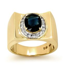 2.33 CTW Blue Sapphire & Diamond Men's Ring 10K Yellow Gold - REF-56V5Y - 13488