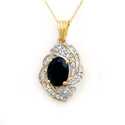 3.88 CTW Blue Sapphire & Diamond Pendant 14K Yellow Gold - REF-85K5W - 13097