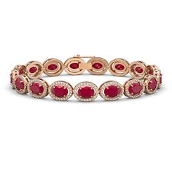 22.89 CTW Ruby & Diamond Bracelet Rose Gold 10K Rose Gold - REF-291F5N - 40605