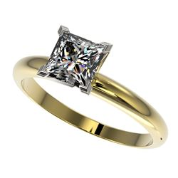 1.25 CTW Certified VS/SI Quality Princess Diamond Solitaire Ring 10K Yellow Gold - REF-372A3V - 3291