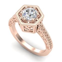 0.77 CTW VS/SI Diamond Solitaire Art Deco Ring 18K Rose Gold - REF-218H2M - 36897