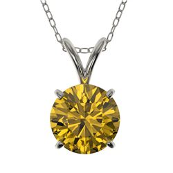 1.25 CTW Certified Intense Yellow SI Diamond Solitaire Necklace 10K White Gold - REF-240V2Y - 33209