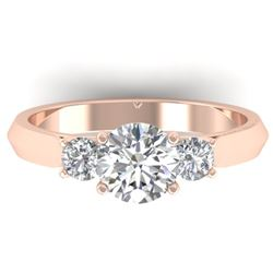 1.50 CTW Certified VS/SI Diamond Solitaire 3 Stone Ring 14K Rose Gold - REF-395X5R - 30313