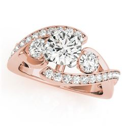 1.76 CTW Certified VS/SI Diamond Bypass Solitaire Ring 18K Rose Gold - REF-435V8Y - 27667