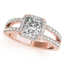 1.26 CTW Certified VS/SI Princess Diamond Solitaire Halo Ring 18K Rose Gold - REF-246F9N - 27136