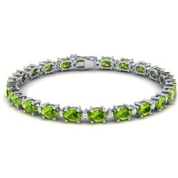 26.3 CTW Peridot & VS/SI Certified Diamond Eternity Bracelet 10K White Gold - REF-174A4V - 29457