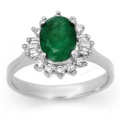1.78 CTW Emerald & Diamond Ring 18K White Gold - REF-57H3M - 13648