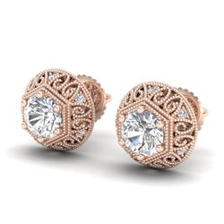 1.31 CTW VS/SI Diamond Solitaire Art Deco Stud Earrings 18K Rose Gold - REF-236R4K - 36921
