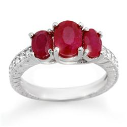 3.75 CTW Ruby & Diamond Ring 14K White Gold - REF-54R5K - 10730