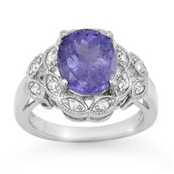 4.25 CTW Tanzanite & Diamond Ring 18K White Gold - REF-141X8R - 14512