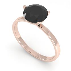 1.50 CTW Black Certified Diamond Engagement Ring Martini 18K Rose Gold - REF-59W3H - 32240