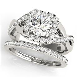 2 CTW Certified VS/SI Diamond 2Pc Wedding Set Solitaire Halo 14K White Gold - REF-413W8H - 30651