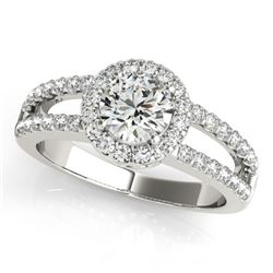 1.26 CTW Certified VS/SI Diamond Solitaire Halo Ring 18K White Gold - REF-224K5W - 26431