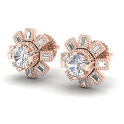 1.77 CTW VS/SI Diamond Solitaire Art Deco Stud Earrings 18K Rose Gold - REF-263X6R - 37065