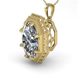 1 CTW VS/SI Oval Cut Diamond Solitaire Necklace 18K Yellow Gold - REF-287A7V - 36001