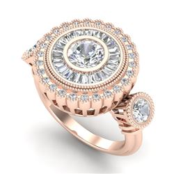 2.62 CTW VS/SI Diamond Solitaire Art Deco 3 Stone Ring 18K Rose Gold - REF-416W4H - 37089