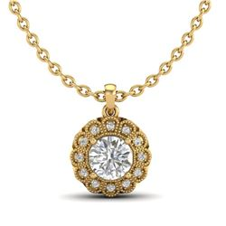1.15 CTW VS/SI Diamond Solitaire Art Deco Necklace 18K Yellow Gold - REF-315K2W - 37057