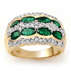 2.25 CTW Emerald & Diamond Ring 14K Yellow Gold - REF-105H5M - 13983